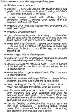 "Library ""to-do"" checklists for beginning of the school year"