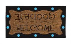 """Coir Mat, Welcome/Goodbye Polka Dot by Ashley Gifts. $26.39. Fade and weather resistant. Recycled rubber backing. anti-skid surface;Easy to clean. Size is: 36""""X22""""X0.6"""". Coconut fiber coir material. Whether guests are entering or leaving, they'll find a friendly message at your door. Whimsically surrounded by blue polka-dots on a deep brown wavy border, this mat is sure to create a smile. Our coir mats provide the perfect decorative accent for your front door, combined with the..."""