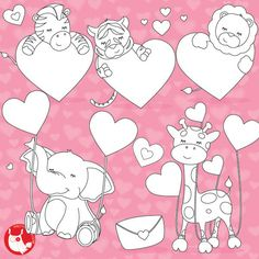 80 OFF SALE Valentine Animals Digital Stamp Commercial Use Vector Graphics