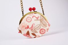 Big crimson bobble  Birdies in pink  metal frame by octopurse, $37.10