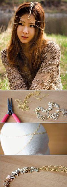 DIY gold chain Hair accessories