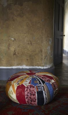 Tribal Pouf: Oversized floor cushion made of a patchwork of vintage Indian fabrics with cord overstitching. Floor Cushions, Pin Cushions, Bohemian Interior, Indian Fabric, Look Vintage, Retro Art, Home Furniture, Diy, Crafty