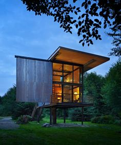 Completed in 2011 in Beaver, United States. Images by Benjamin Benschneider. This 350-square-foot cabin is a small perch for its occupant. When you're inside or on the deck, you are raised up above the landscape with an...