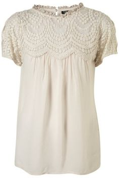 Scallop Yoke Lace Blouse - Tops - Clothing - Topshop - StyleSays