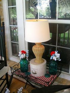 An Updated Lamp for the Summer Porch Porch Lamp, Local Thrift Stores, Edison Lamp, Summer Porch, Reuse Recycle, Lamp Bases, Outdoor Projects, Furniture Decor, Repurposed