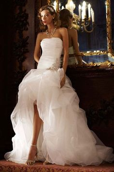strapless drop waistline hi-low wedding gown