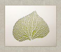 Broad leaf papercut 8x10 original paper sculpture by InkandHope, $100.00