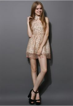 Sequins Floral Embellished Organza Dress -- Chicwish.com. I'm sort of obsessed with this dress.