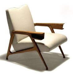 Anonymous; Wood and Leather Lounge Chair, 1950s.
