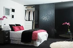Pink and Black Themed...I love the closet doors!