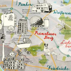 Map of Berlin Prenzlauer Berg, Pankow, Weissensee by Theresa Grieben; buy online: https://www.etsy.com/listing/222236482/berlin-map-germany-berlin-print-quirky?ref=shop_home_active_5