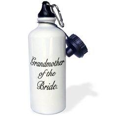 3dRose Grandmother of the Bride, Black, Sports Water Bottle, 21oz