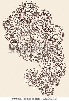 henna thigh designs | Henna Paisley Flowers Mehndi Tattoo Doodles Design- Abstract Floral ...