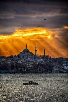 Awesome sunset on the Bosphorus.. istanbul , turkey