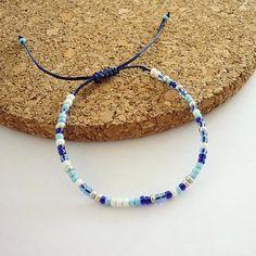 Blue Tone Minimalist Bracelet. Macrame Knot Closer. Strong Nylon Cord. Toho Seed Beads