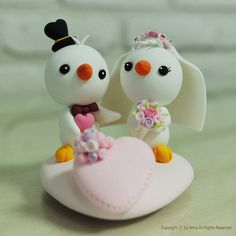 Cute love birds wedding cake topper decoration gift by heartbear, $60.00