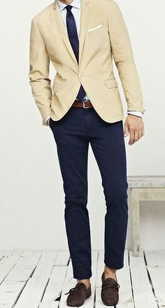 Men's Navy Chinos, Brown Leather Belt, White Silk Pocket Square, Beige Blazer, Navy Polka Dot Silk Tie, and White Vertical Striped Dress Shirt