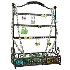 Hang this elegant wire jewelry organizer over any door for quick