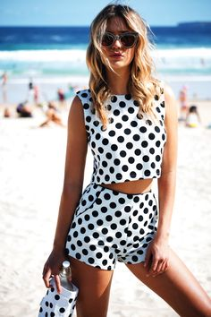 This cute patterned polka dot top is one of our favourites! Featuring a cream and black print, pull-over style with a round neckline and relaxed fit. Wear with the matching Polka Dot Shorts for a bold matching outfit! By Sabo Skirt. Crop Top And Shorts, High Waisted Shorts, Sexy Shorts, Polka Dot Shorts, Polka Dots, Pretty Outfits, Cool Outfits, Pretty Clothes, Pretty Dresses