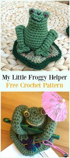 Crochet My Little Froggy Helper Free Pattern- & Holders Free Patterns Crochet Hood, Crochet Needles, Free Crochet, Crochet Poncho, Easy Crochet Patterns, Amigurumi Patterns, Knitting Patterns, Crochet Ideas, Crochet Gifts