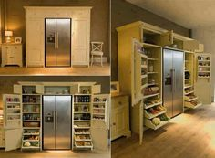Top Small Kitchen Appliance Storage Ideas - Built ins surround fridge creating pantry storage and hide the clutter.