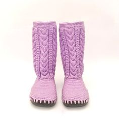 Crochet Boots Crochet Knitted Shoes Outdoor Boots Lilac Tenderness. €123,00, via Etsy.