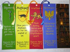 Harry Potter Hogwarts Houses themed bookmarks - set of 5 - house mottos, sayings, reading quotes, library, Gryffindor, Slytherin, Ravenclaw on Etsy, $11.16 CAD