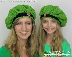 Free Pattern for Irish Inspired Crochet Beret Beanie Hat with YouTube Help Video by Naztazia
