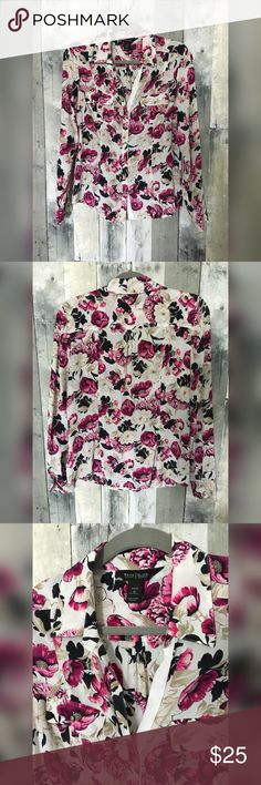 White House Black Market Floral 100% Silk Blouse Beautiful Floral Button Down Blouse by White House Black Market.   Size 10  100% Silk  Hand Wash Cold, Line Dry.  Great Pre-loved Condition! White House Black Market Tops Blouses