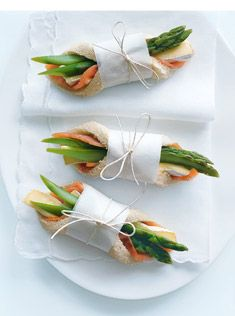 salmon, brie and asparagus fingers; may change the ingredients but the presentation is cute!