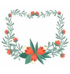 Floral frame vector on VectorStock®