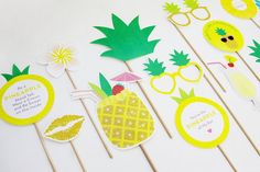Party like a Pineapple! Add some sunshine to your party with these pineapple party photo booth props.  Also suits a Tropical, Hawaiian Luau or Summer themed party.  To get the party started grab your FREE party planner and guest list from our blog at www.creativesenseco.com  *************** Pineapple Party Photo Booth Props Printable (14 piece set) includes:  Pineapple Ring Frangipani Pineapple Pineapple Drink Pineapple of My Eye Sign Be a Pineapple Sign Hibiscus Party like a Pineapple Sign…
