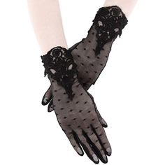 Restyle Black Lace Mesh Gloves Guipure Dotted Elegant Gothic Lolita Victorian  #Restyle