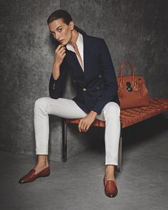 Classic combination: white denim gets an elegant update with a navy blazer and accessories in the #RLIcons collection