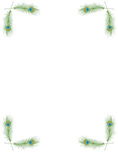 Printable peacock border. Free GIF, JPG, PDF, and PNG downloads at http://pageborders.org/download/peacock-border/. EPS and AI versions are also available.