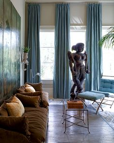 "When I can across interior designer and artist Raymond Goins , I fell in love with his ""unleashed"" way of decorating. Living Room Green, My Living Room, Interior Architecture, Interior And Exterior, Floor To Ceiling Curtains, South Shore Decorating, Beautiful Interior Design, Great Rooms, Interior Styling"