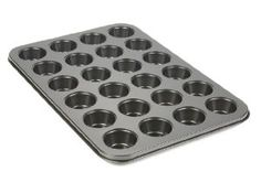 Bakers Select Nonstick Muffin Pan, 24 Cups by Bakers Select. $14.37. Heavy gauge metal construction prevents warping even after years of use. Quality non-stick finish helps baked goods release without sticking. Dishwasher safe for easy cleanup. 12-cup and 24-cup mini muffin pan sizes. Baking, with the right tools at hand, is not only easy but it's also fun, and using a mini muffin pan is no exception. These great pans will bake up batch after batch of the best tasting, m...