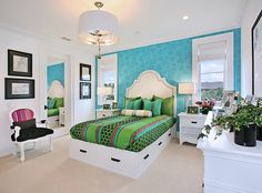 Teen Girl Bedrooms - Inexpensive to clever teenage girl room inspirations. For added message , stopover the pin image right now Blue Bedroom Decor, Bedroom Turquoise, Bedroom Green, Bedroom Ideas, Green Bedding, Teen Girl Bedrooms, Teen Bedroom, Teen Rooms, Cozy Bedroom