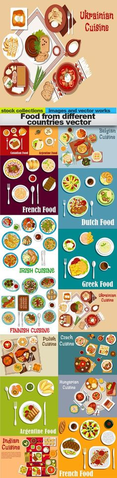 Food from different countries vector 15 X EPS