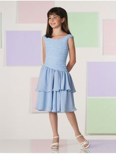 Chiffon Scoop Neckline Asymmetrically Dropped waistline Ruched Bodice Knee-length Flower Girl Dress
