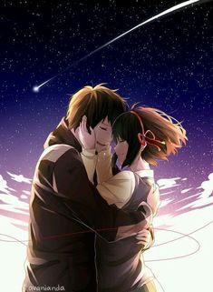 i watched kimi no na wa its so beautiful and gave me a lot of feels GO GO WATCH IT IF YOU HAVENT i drew backgrounds wow are you surprised because i am i. Kimi no Na wa Couple Amour Anime, Couple Manga, Anime Love Couple, Couple Cartoon, Manga Anime, Film Anime, Cartoon Love Photo, Anime Couple Romantique, Mitsuha And Taki