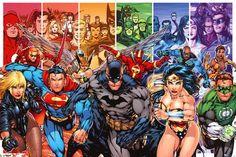 "DC Comics - Justice League Of America - Generations Superman Batman Wonder Woman Green Lantern wall poster art print affiliate 36"" x 24"""