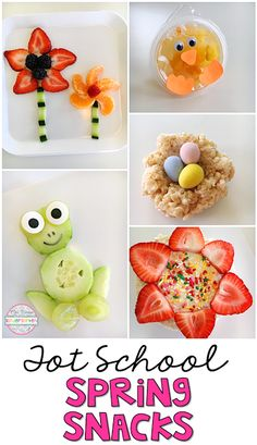 These adorable snacks are perfect for spring in tot school, preschool, or the kindergarten classroom. daycare treats for toddlers Tot School: Spring - Mrs. Class Snacks, Classroom Snacks, Kindergarten Classroom, Classroom Ideas, Preschool Cooking Activities, Spring Activities, Preschool Crafts, Toddler Activities, Cute Snacks