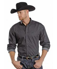 Panhandle Slim Select Men's Slate Peached Poplin Print Long Sleeve Button Down