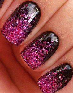 Amazing Glitter Pink And Black Nails :)
