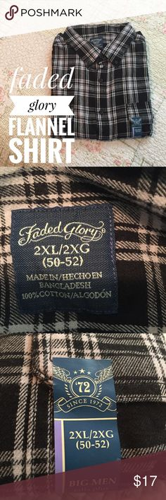 NWT Men's Flannel shirt Men's, longsleeve, flannel shirt, by faded glory. 2XL/2XG (50-52). Black and white, pocket on each breast. New with tags's. 100% cotton. Faded Glory Shirts Casual Button Down Shirts
