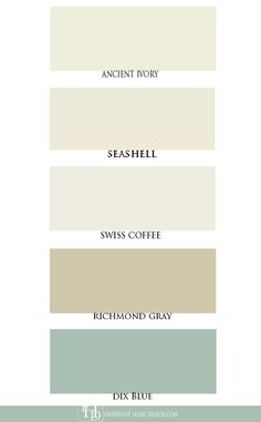 """Soft ivories like Benjamin Moore's """"Ancient Ivory"""" Farrow and Ball's """"Dix Blue"""" and Benjamin Moore's """"Richmond Gray. Best White Paint, White Paint Colors, Wall Colors, Ivory Paint Color, House Colors, Benjamin Moore Paint, Benjamin Moore Colors, Benjamin Moore Ivory White, Popular Paint Colors"""