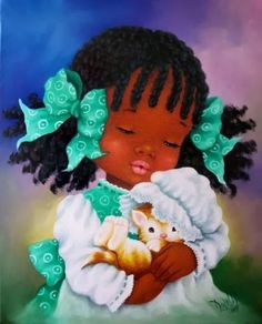 ❤Beautiful little girl holding kitten ~ Artist Dora Alis
