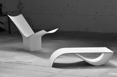 PolQuadens_Long_chair_2014_and_Fish_table_2007_Corian_White