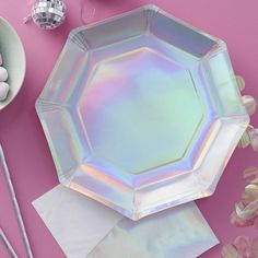 Iridescent Paper Plates, Unicorn Party, Iridescent Party Tableware, Iridescent Party Decorn, Unicorn Party Decoration, Girls Birthday Decor by byJoessa on Etsy https://www.etsy.com/listing/519614437/iridescent-paper-plates-unicorn-party